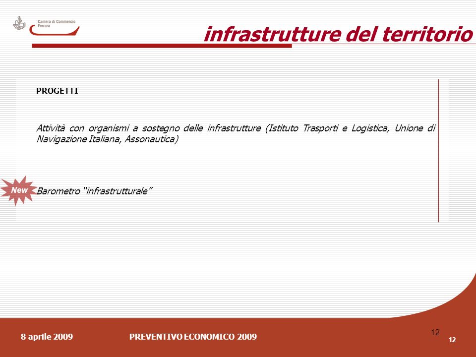 8 aprile 2009PREVENTIVO ECONOMICO 2009 12 PROGETTI Attività con organismi a sostegno delle infrastrutture (Istituto Trasporti e Logistica, Unione di Navigazione Italiana, Assonautica) Barometro infrastrutturale infrastrutture del territorio New
