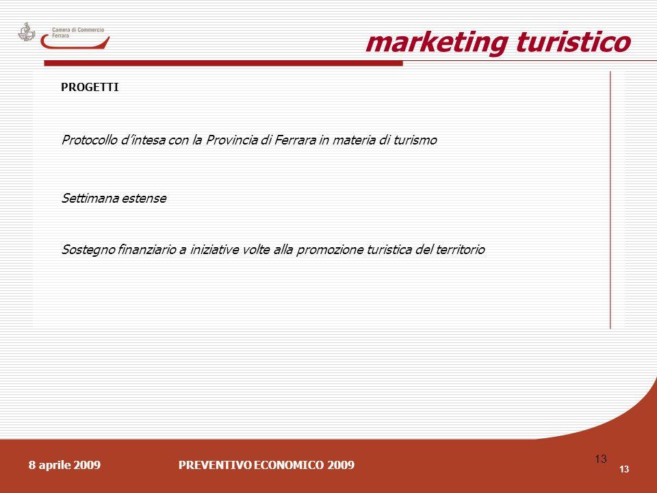 8 aprile 2009PREVENTIVO ECONOMICO 2009 13 marketing turistico PROGETTI Protocollo dintesa con la Provincia di Ferrara in materia di turismo Settimana estense Sostegno finanziario a iniziative volte alla promozione turistica del territorio