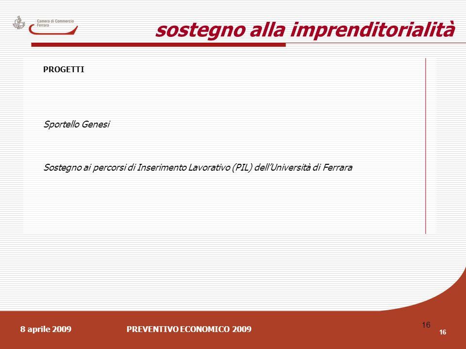 8 aprile 2009PREVENTIVO ECONOMICO 2009 16 sostegno alla imprenditorialità PROGETTI Sportello Genesi Sostegno ai percorsi di Inserimento Lavorativo (PIL) dellUniversità di Ferrara
