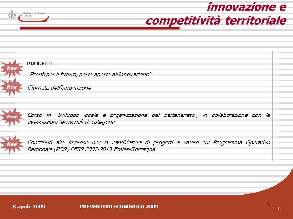 8 aprile 2009PREVENTIVO ECONOMICO 2009 6 6 innovazione e competitività territoriale PROGETTI Pronti per il futuro, porte aperte allinnovazione Giornata dellinnovazione Corso in Sviluppo locale e organizzazione del partenariato, in collaborazione con le associazioni territoriali di categoria Contributi alle imprese per la candidatura di progetti a valere sul Programma Operativo Regionale (POR) FESR 2007-2013 Emilia-Romagna New