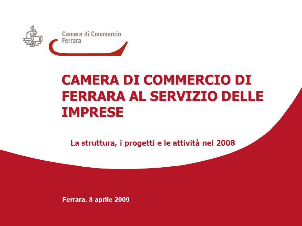 Ferrara, 8 aprile 2009 CAMERA DI COMMERCIO DI FERRARA AL SERVIZIO DELLE IMPRESE La struttura, i progetti e le attività nel 2008