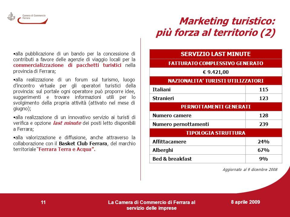 8 aprile 2009 La Camera di Commercio di Ferrara al servizio delle imprese 11 Marketing turistico: più forza al territorio (2) alla pubblicazione di un