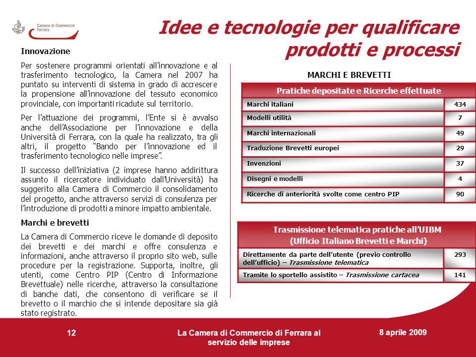 8 aprile 2009 La Camera di Commercio di Ferrara al servizio delle imprese 12 Idee e tecnologie per qualificare prodotti e processi Innovazione Per sos