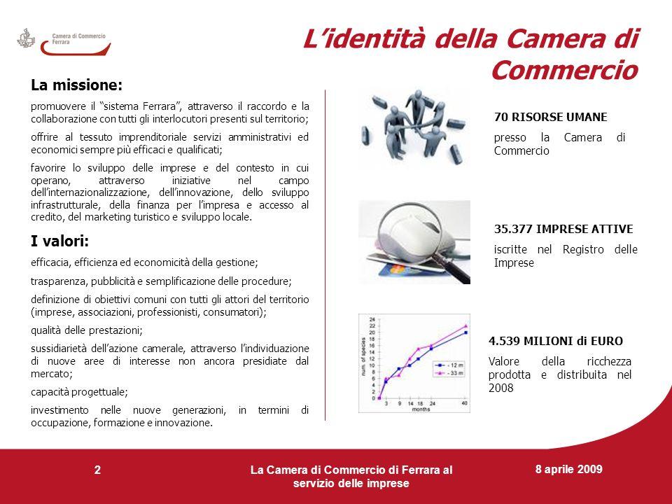 8 aprile 2009 La Camera di Commercio di Ferrara al servizio delle imprese 2 Lidentità della Camera di Commercio La missione: promuovere il sistema Fer