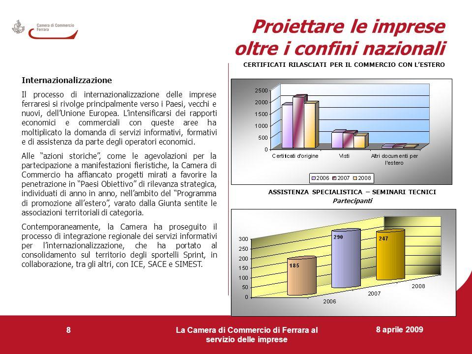 8 aprile 2009 La Camera di Commercio di Ferrara al servizio delle imprese 8 Proiettare le imprese oltre i confini nazionali Internazionalizzazione Il
