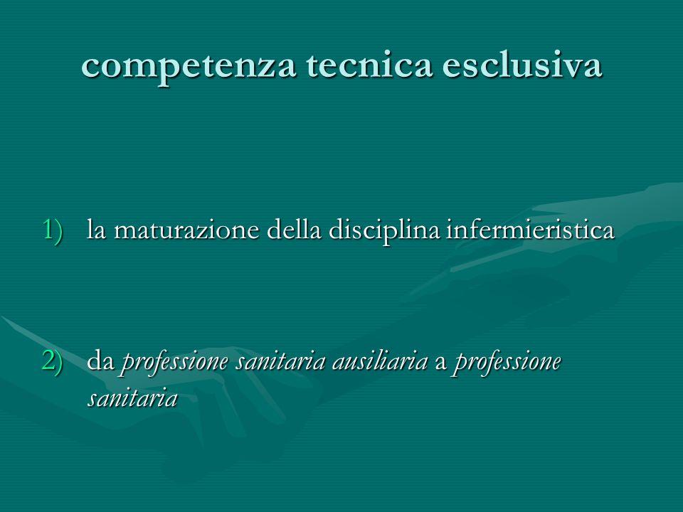 competenza tecnica esclusiva 1)la maturazione della disciplina infermieristica 2)da professione sanitaria ausiliaria a professione sanitaria