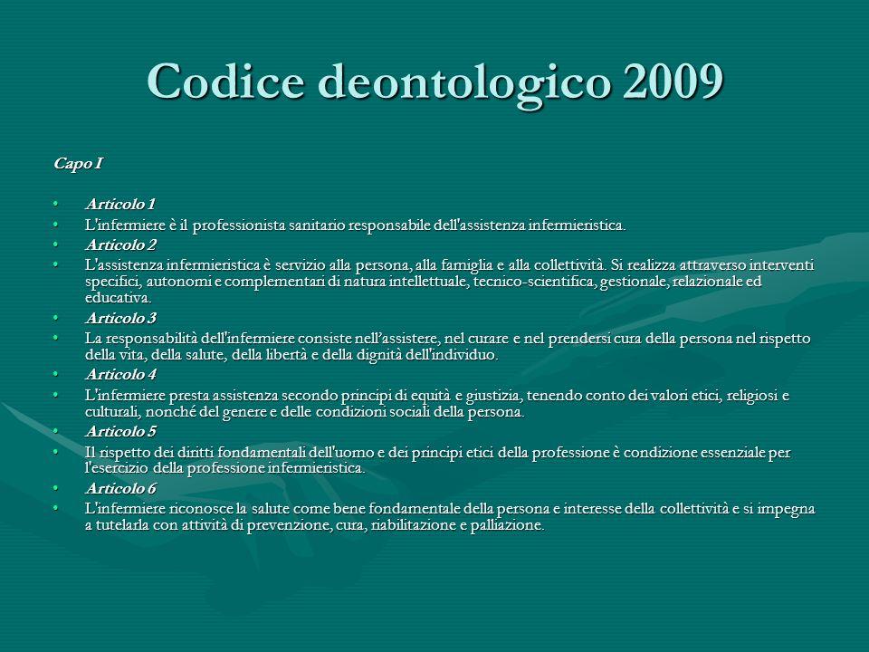 Codice deontologico 2009 Capo I Articolo 1Articolo 1 L'infermiere è il professionista sanitario responsabile dell'assistenza infermieristica.L'infermi