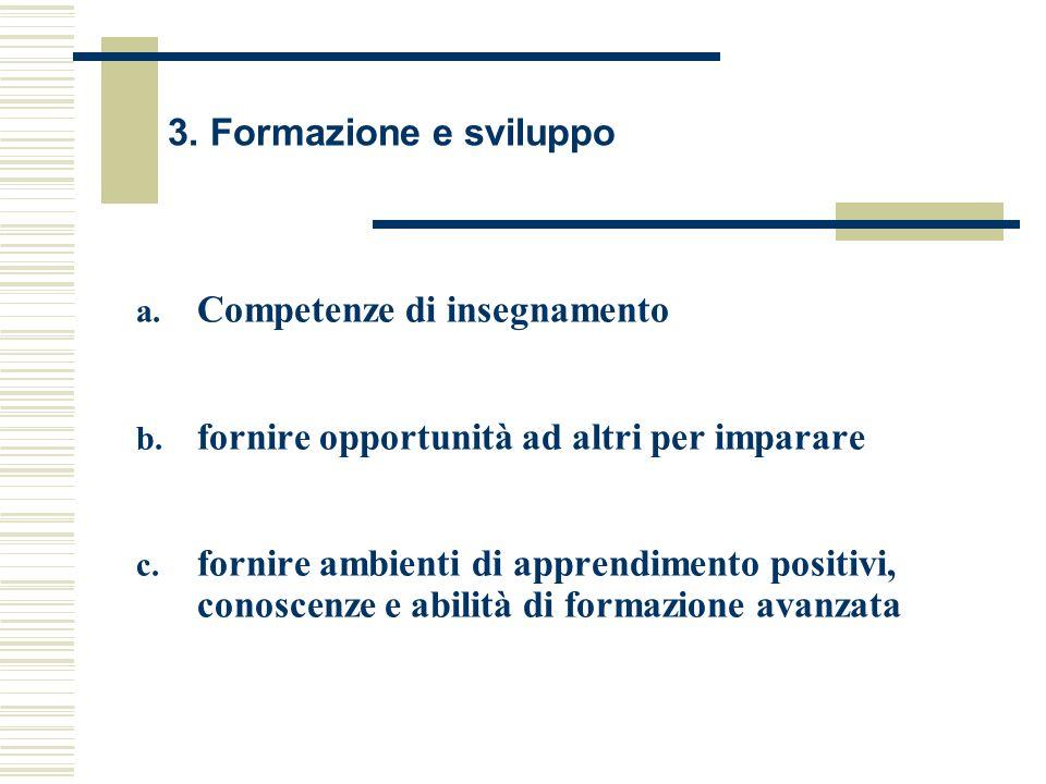 3. Formazione e sviluppo a. Competenze di insegnamento b. fornire opportunità ad altri per imparare c. fornire ambienti di apprendimento positivi, con