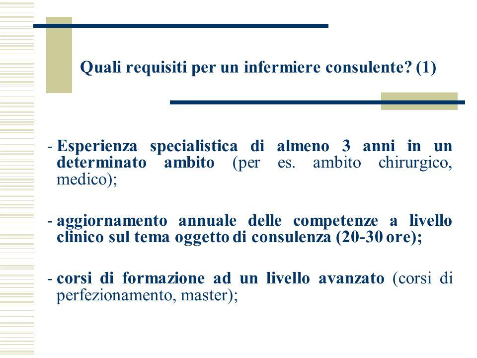 Quali requisiti per un infermiere consulente? (1) -Esperienza specialistica di almeno 3 anni in un determinato ambito (per es. ambito chirurgico, medi