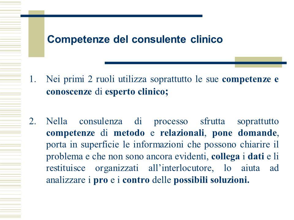 Competenze del consulente clinico 1.Nei primi 2 ruoli utilizza soprattutto le sue competenze e conoscenze di esperto clinico ; 2.Nella consulenza di p