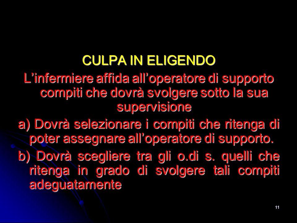 11 CULPA IN ELIGENDO Linfermiere affida alloperatore di supporto compiti che dovrà svolgere sotto la sua supervisione a) Dovrà selezionare i compiti c