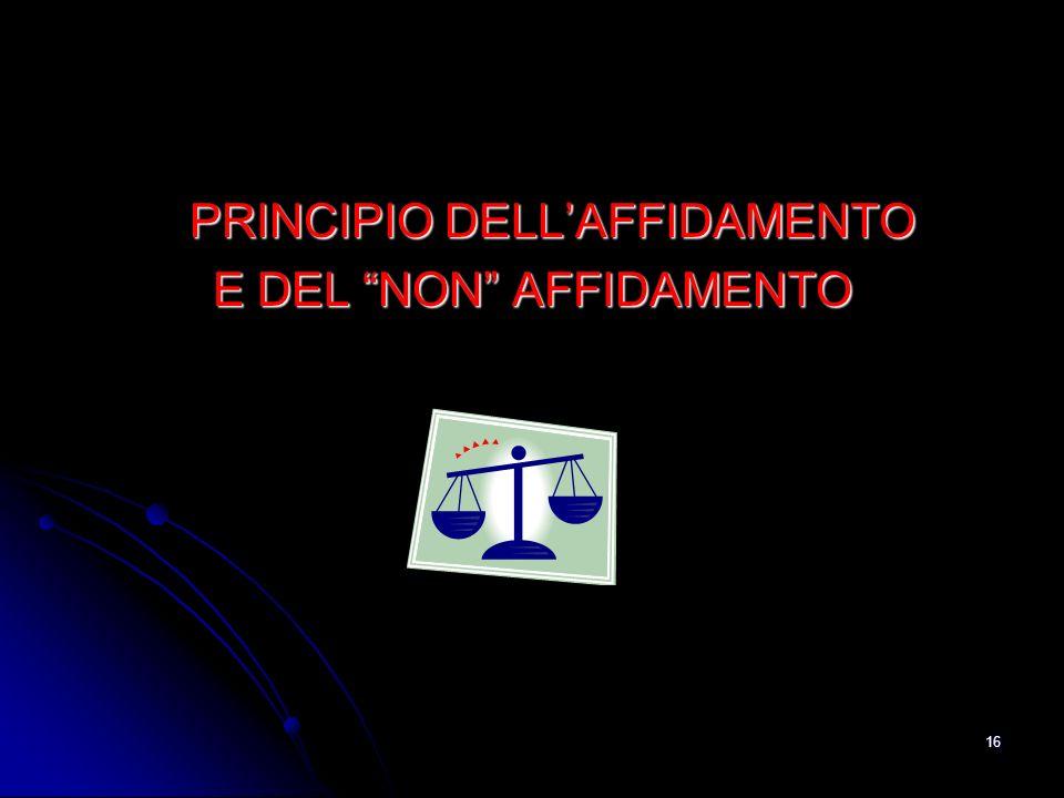 16 PRINCIPIO DELLAFFIDAMENTO E DEL NON AFFIDAMENTO
