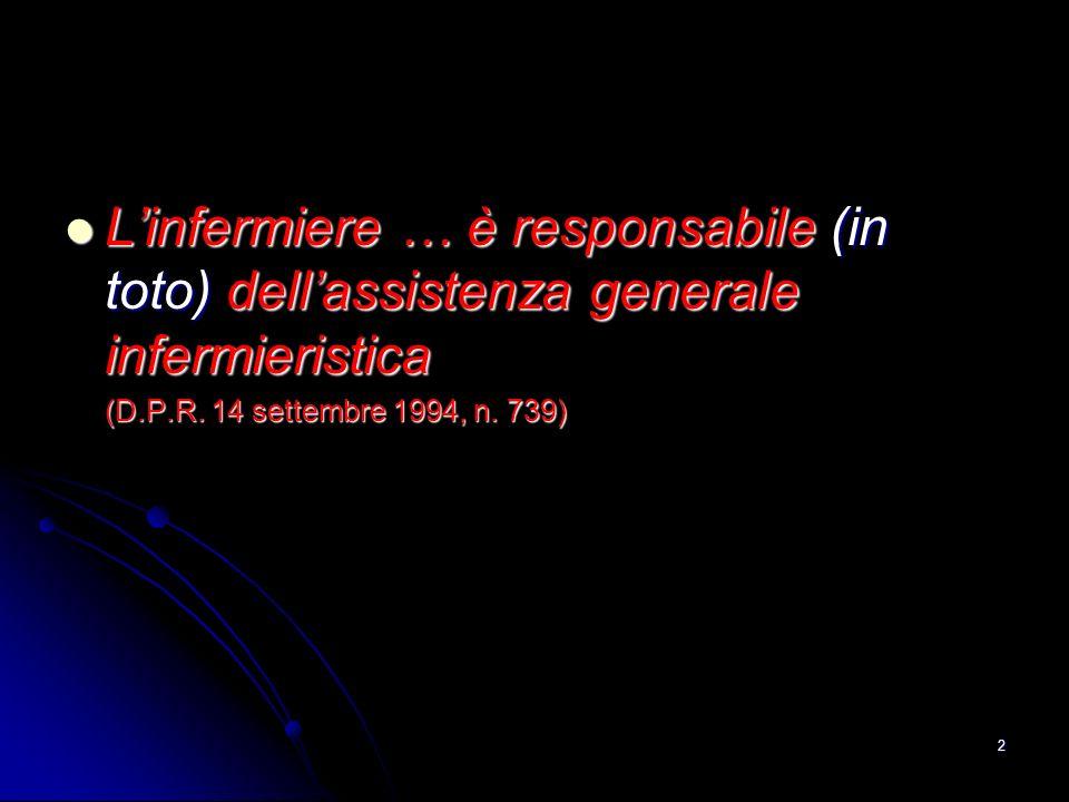 2 Linfermiere … è responsabile (in toto) dellassistenza generale infermieristica Linfermiere … è responsabile (in toto) dellassistenza generale inferm