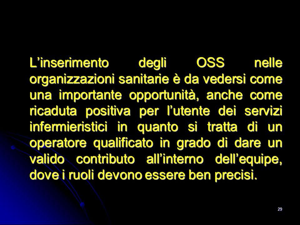 29 Linserimento degli OSS nelle organizzazioni sanitarie è da vedersi come una importante opportunità, anche come ricaduta positiva per lutente dei se