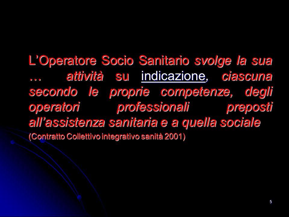 5 LOperatore Socio Sanitario svolge la sua … attività su indicazione, ciascuna secondo le proprie competenze, degli operatori professionali preposti a