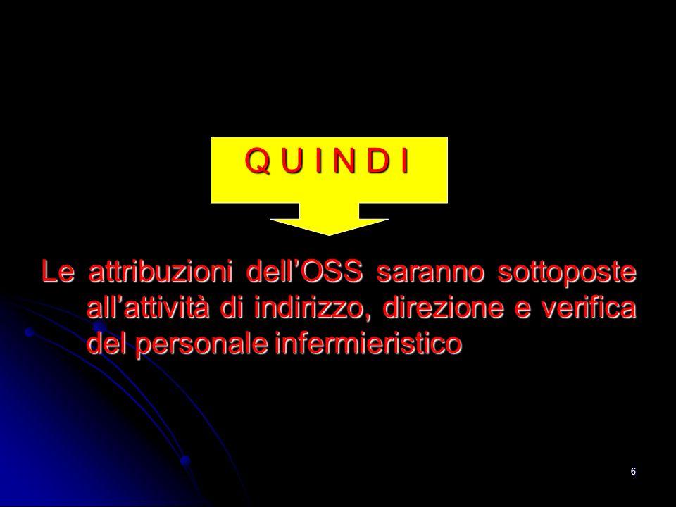 6 Le attribuzioni dellOSS saranno sottoposte allattività di indirizzo, direzione e verifica del personale infermieristico Q U I N D I