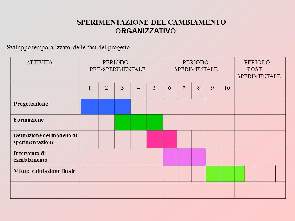 SPERIMENTAZIONE DEL CAMBIAMENTO ORGANIZZATIVO Sviluppo temporalizzato delle fasi del progetto ATTIVITA PERIODO PRE-SPERIMENTALE PERIODO SPERIMENTALE P