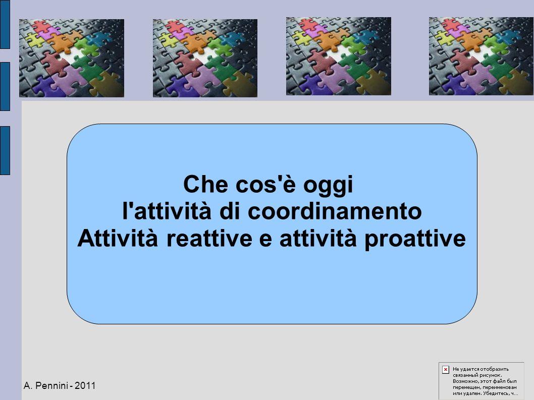 Che cos'è oggi l'attività di coordinamento Attività reattive e attività proattive A. Pennini - 2011
