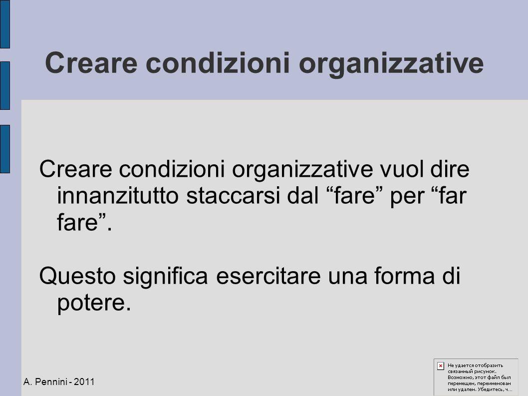 Creare condizioni organizzative Creare condizioni organizzative vuol dire innanzitutto staccarsi dal fare per far fare. Questo significa esercitare un
