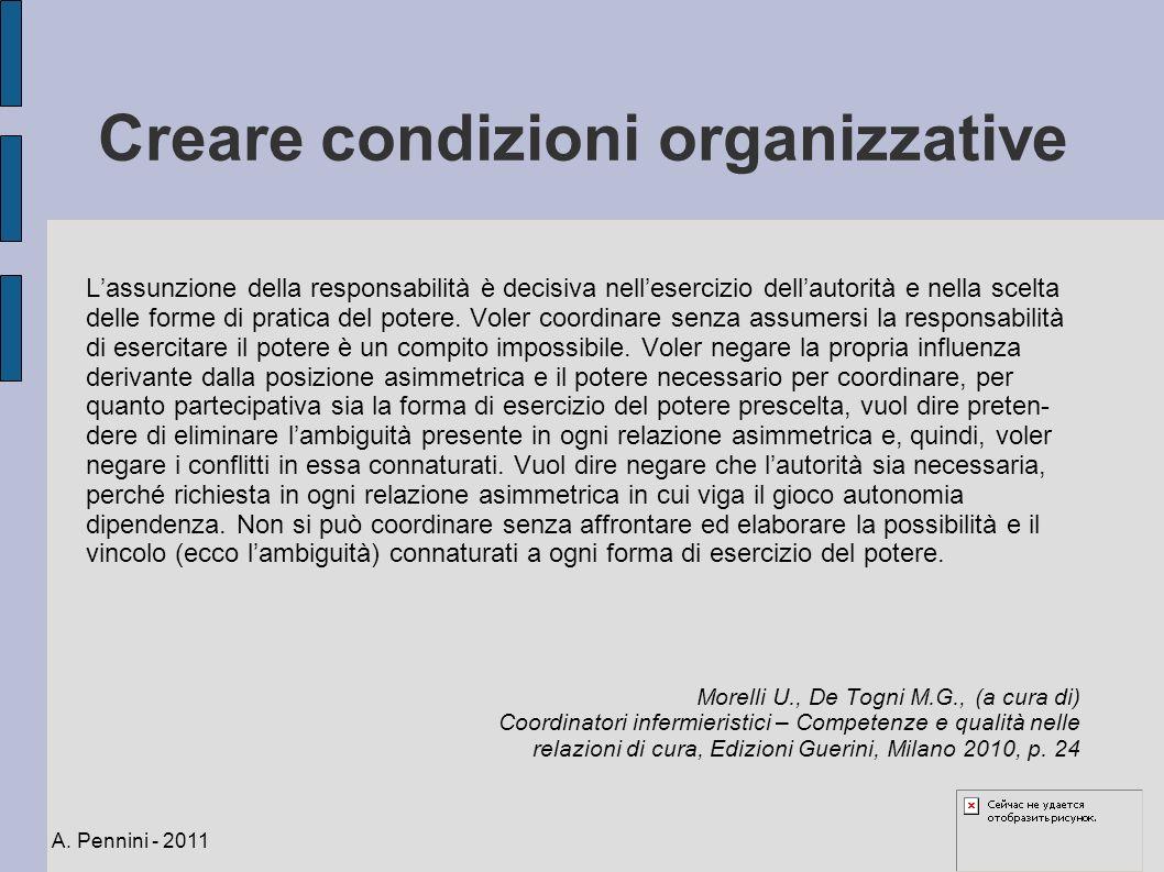 Creare condizioni organizzative Lassunzione della responsabilità è decisiva nellesercizio dellautorità e nella scelta delle forme di pratica del poter