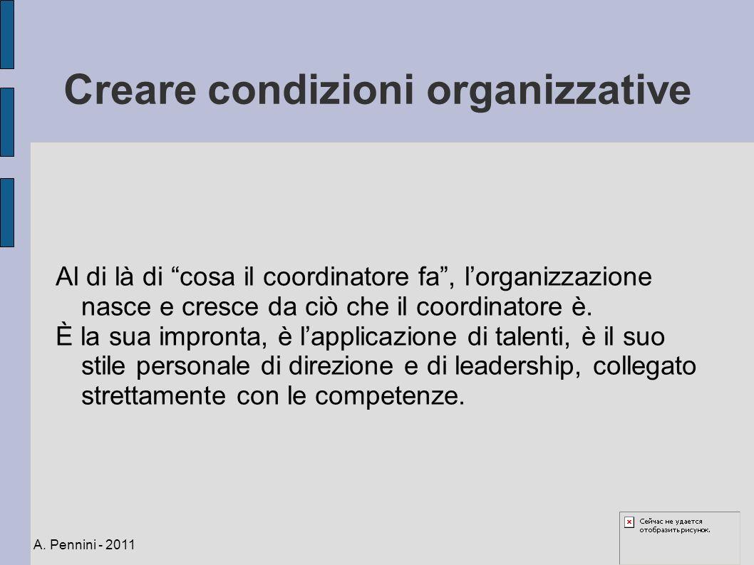 Creare condizioni organizzative Al di là di cosa il coordinatore fa, lorganizzazione nasce e cresce da ciò che il coordinatore è. È la sua impronta, è