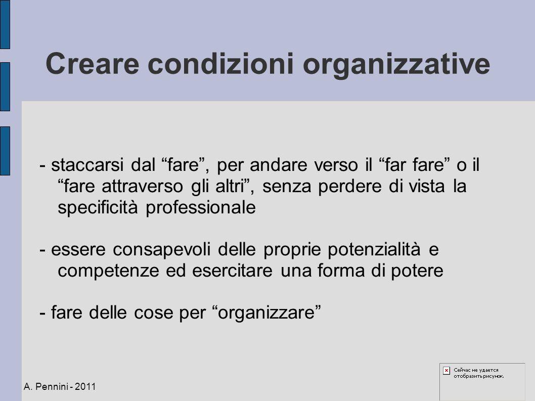 Creare condizioni organizzative - staccarsi dal fare, per andare verso il far fare o il fare attraverso gli altri, senza perdere di vista la specifici