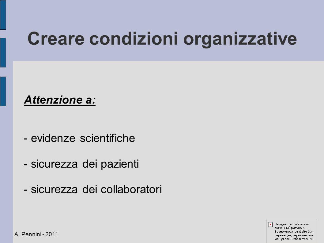 Creare condizioni organizzative Attenzione a: - evidenze scientifiche - sicurezza dei pazienti - sicurezza dei collaboratori A. Pennini - 2011