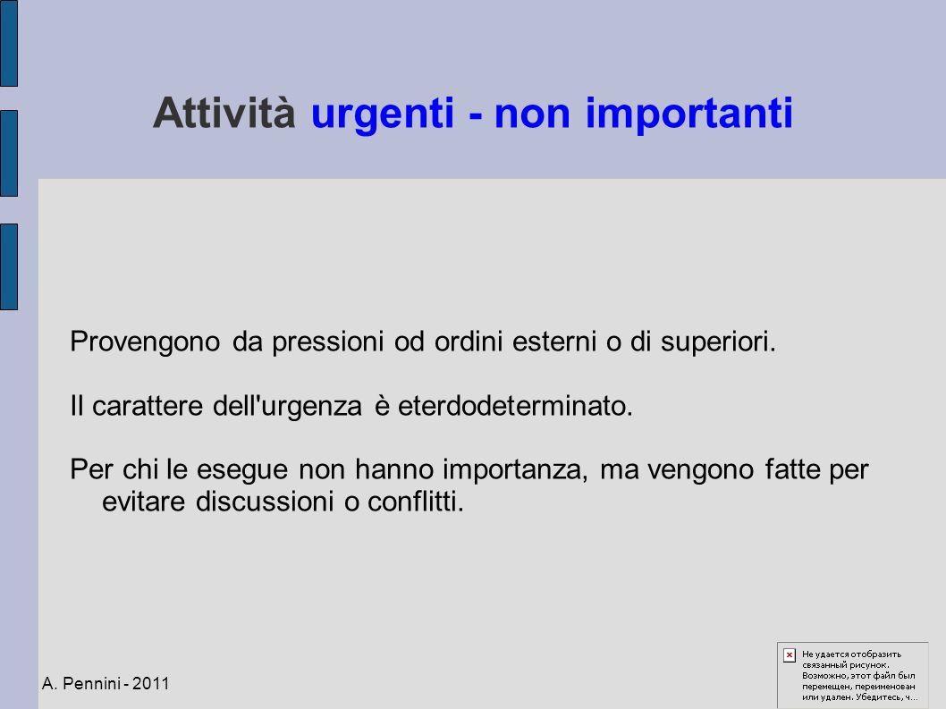 Attività urgenti - non importanti Provengono da pressioni od ordini esterni o di superiori. Il carattere dell'urgenza è eterdodeterminato. Per chi le