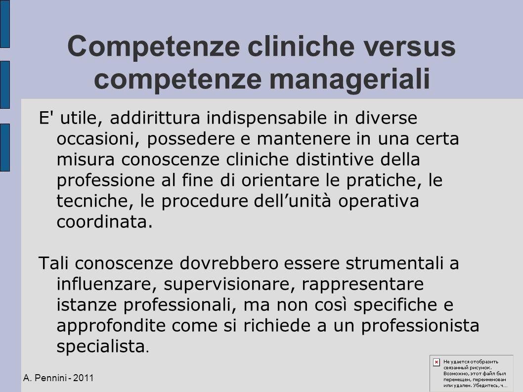 Competenze cliniche versus competenze manageriali E' utile, addirittura indispensabile in diverse occasioni, possedere e mantenere in una certa misura