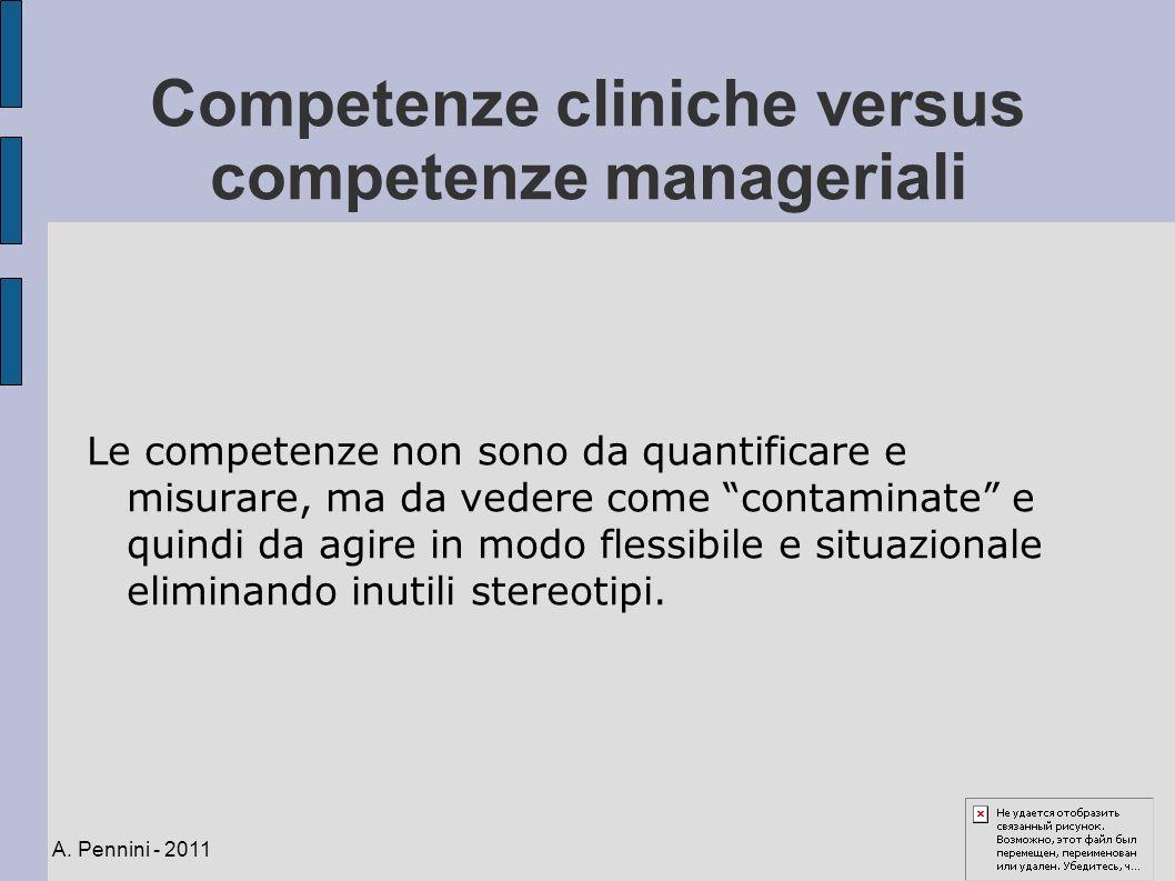 Competenze cliniche versus competenze manageriali Le competenze non sono da quantificare e misurare, ma da vedere come contaminate e quindi da agire i