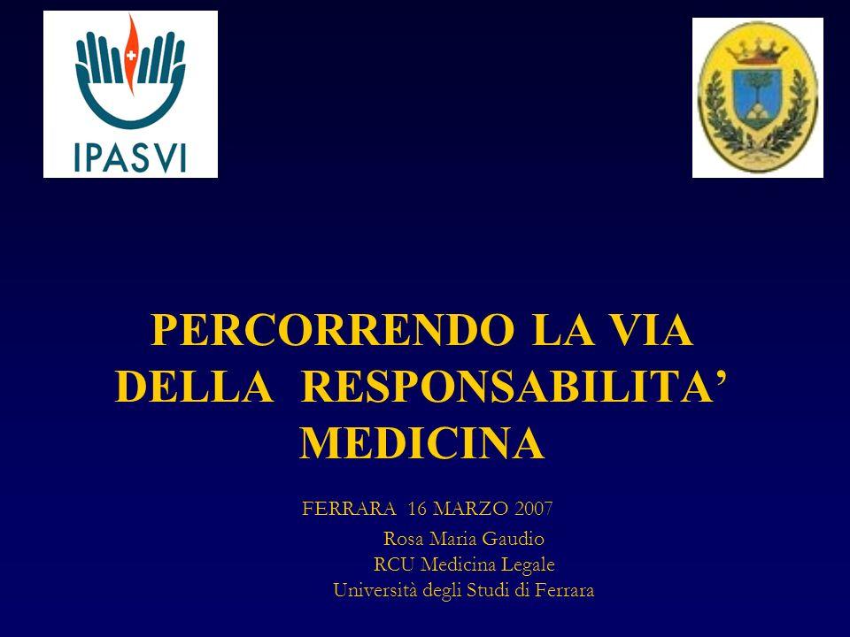 PERCORRENDO LA VIA DELLA RESPONSABILITA MEDICINA FERRARA 16 MARZO 2007 Rosa Maria Gaudio RCU Medicina Legale Università degli Studi di Ferrara