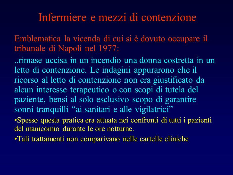 Infermiere e mezzi di contenzione Emblematica la vicenda di cui si è dovuto occupare il tribunale di Napoli nel 1977:..rimase uccisa in un incendio un