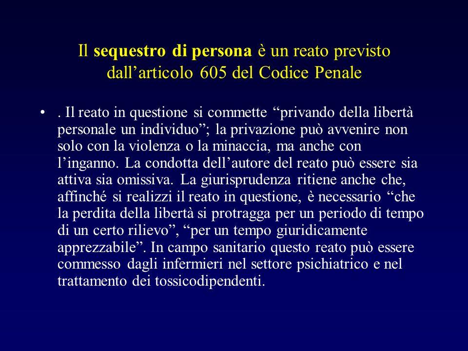 Il sequestro di persona è un reato previsto dallarticolo 605 del Codice Penale. Il reato in questione si commette privando della libertà personale un