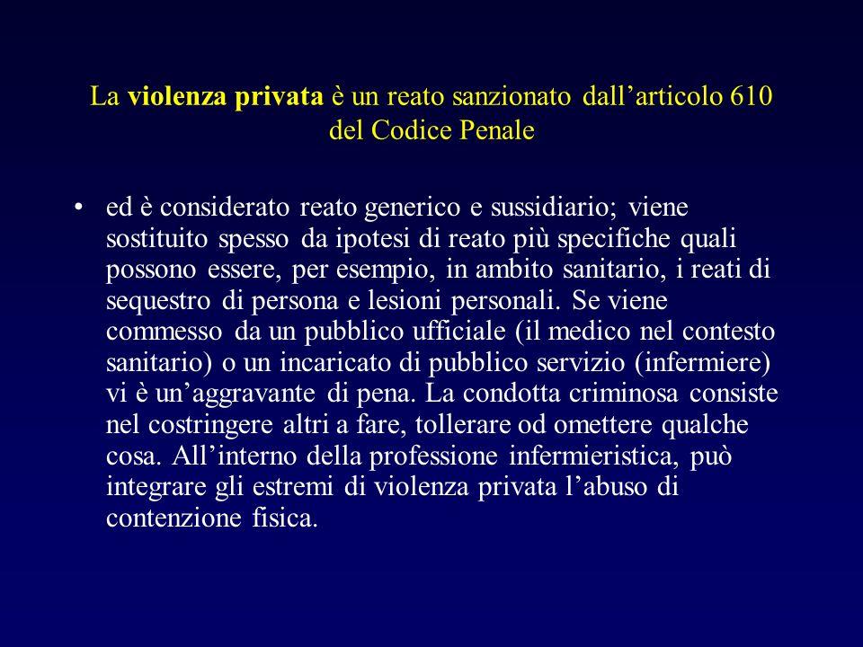La violenza privata è un reato sanzionato dallarticolo 610 del Codice Penale ed è considerato reato generico e sussidiario; viene sostituito spesso da