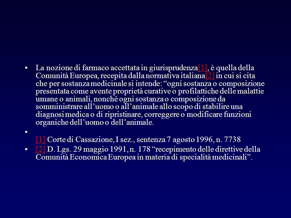 La nozione di farmaco accettata in giurisprudenza[1], è quella della Comunità Europea, recepita dalla normativa italiana[2] in cui si cita che per sos