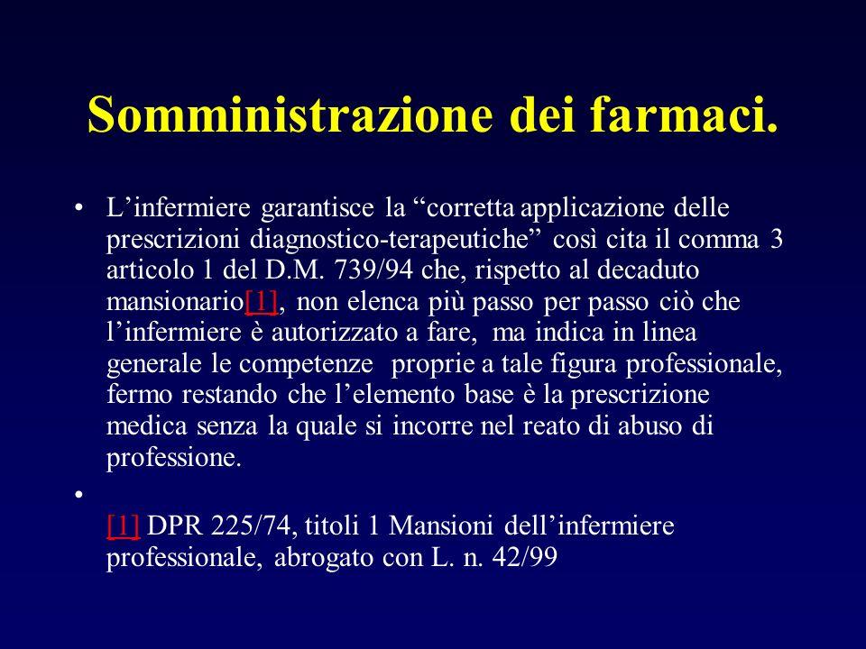 Somministrazione dei farmaci. Linfermiere garantisce la corretta applicazione delle prescrizioni diagnostico-terapeutiche così cita il comma 3 articol