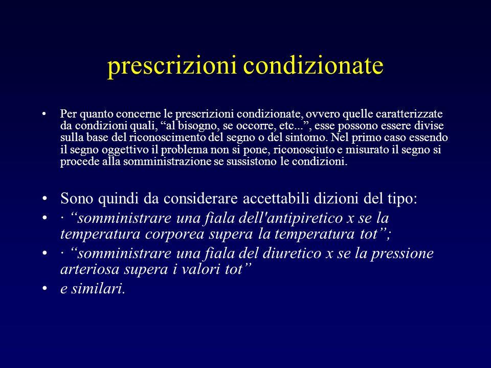 prescrizioni condizionate Per quanto concerne le prescrizioni condizionate, ovvero quelle caratterizzate da condizioni quali, al bisogno, se occorre,