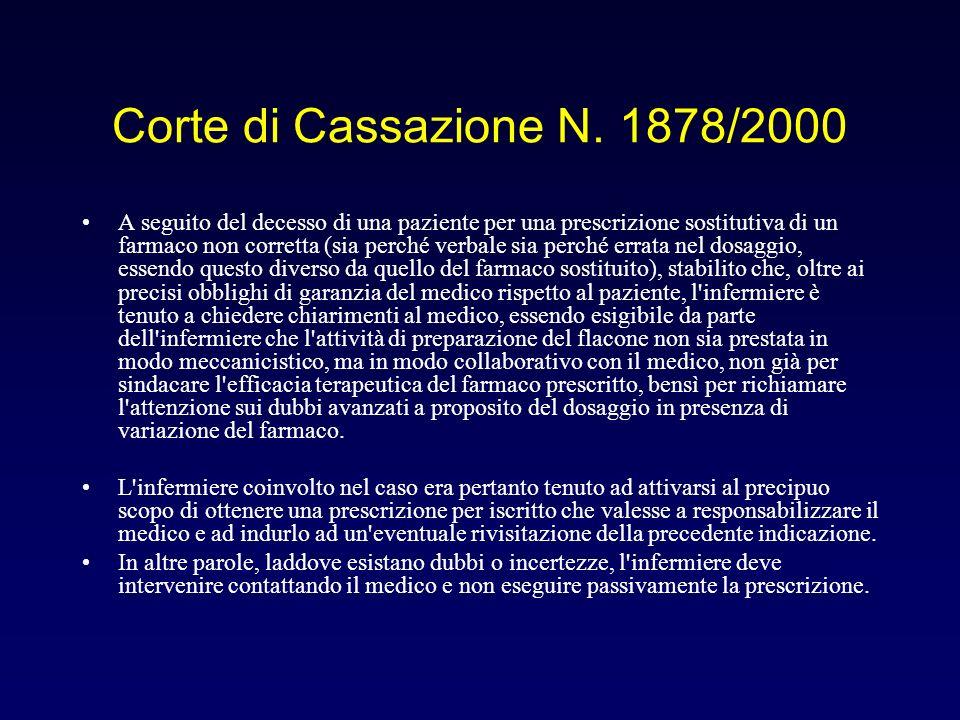 Corte di Cassazione N. 1878/2000 A seguito del decesso di una paziente per una prescrizione sostitutiva di un farmaco non corretta (sia perché verbale