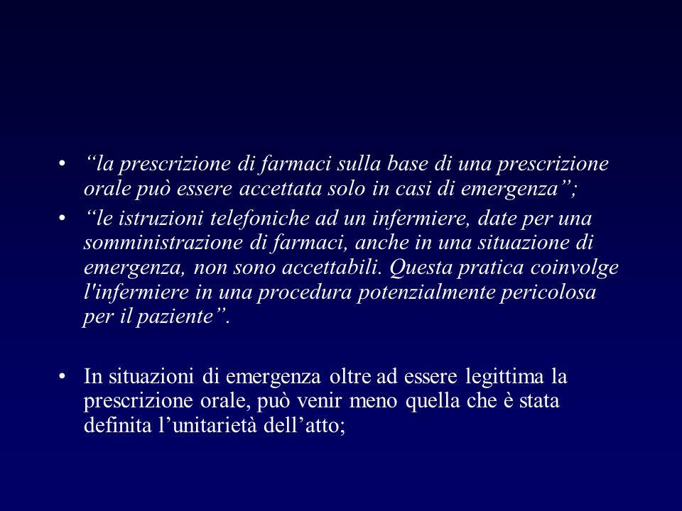 la prescrizione di farmaci sulla base di una prescrizione orale può essere accettata solo in casi di emergenza; le istruzioni telefoniche ad un inferm