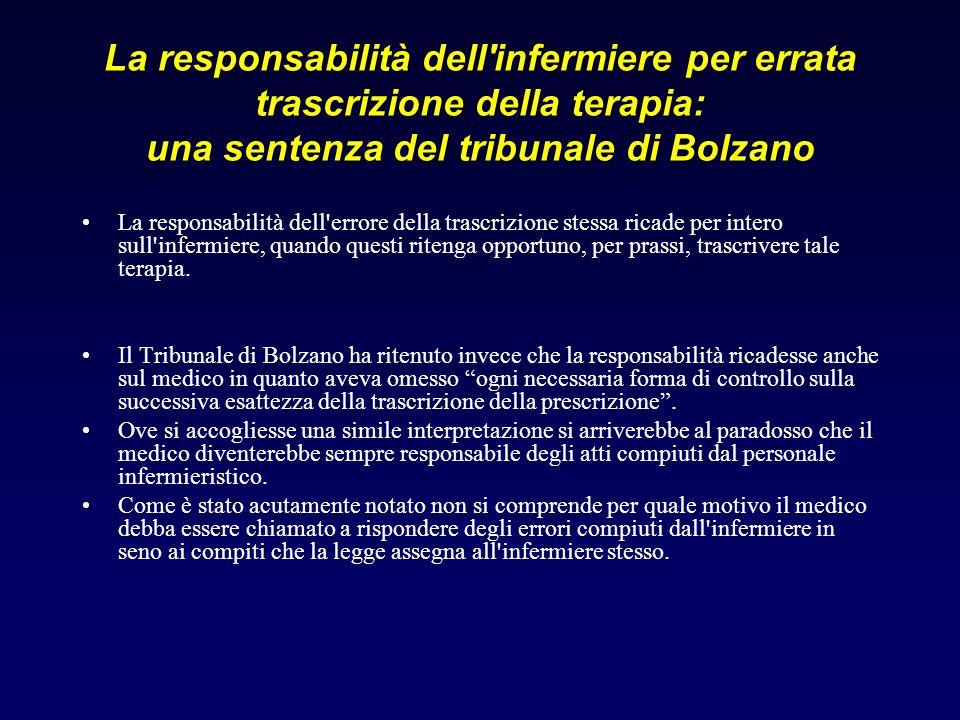 La responsabilità dell'infermiere per errata trascrizione della terapia: una sentenza del tribunale di Bolzano La responsabilità dell'errore della tra