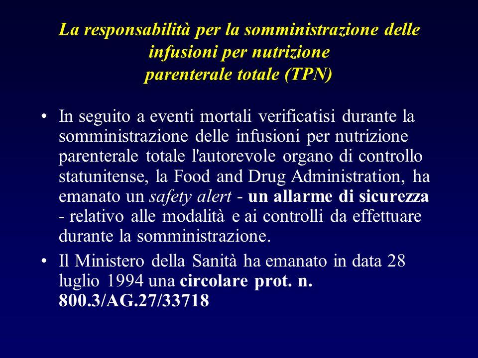La responsabilità per la somministrazione delle infusioni per nutrizione parenterale totale (TPN) In seguito a eventi mortali verificatisi durante la