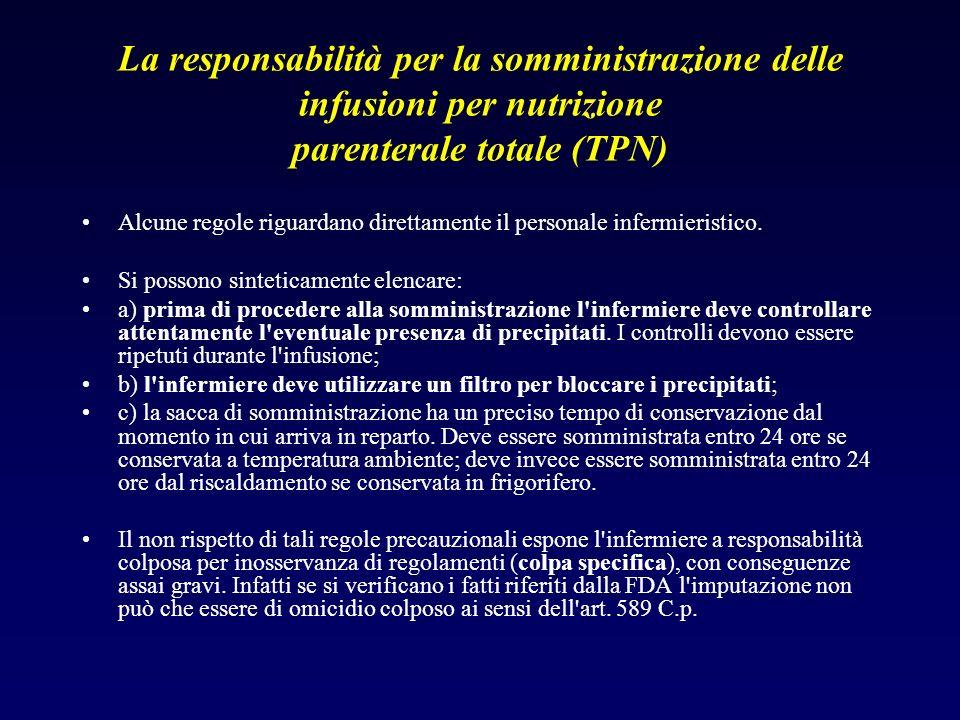 La responsabilità per la somministrazione delle infusioni per nutrizione parenterale totale (TPN) Alcune regole riguardano direttamente il personale i
