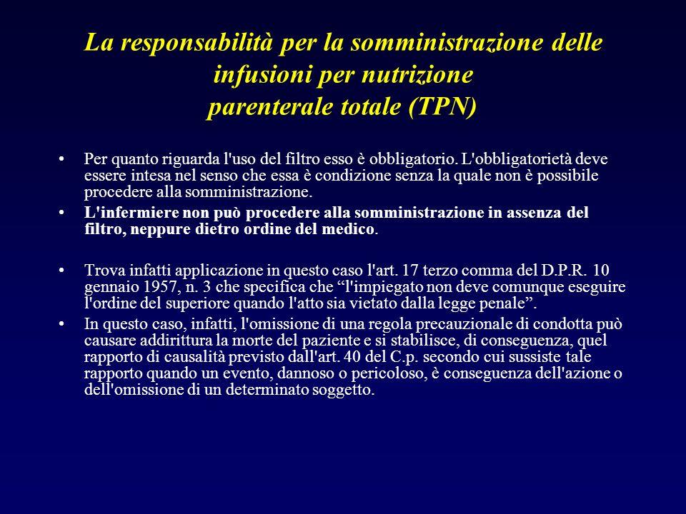 La responsabilità per la somministrazione delle infusioni per nutrizione parenterale totale (TPN) Per quanto riguarda l'uso del filtro esso è obbligat
