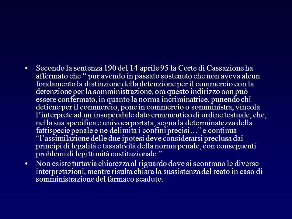 Secondo la sentenza 190 del 14 aprile 95 la Corte di Cassazione ha affermato che pur avendo in passato sostenuto che non aveva alcun fondamento la dis