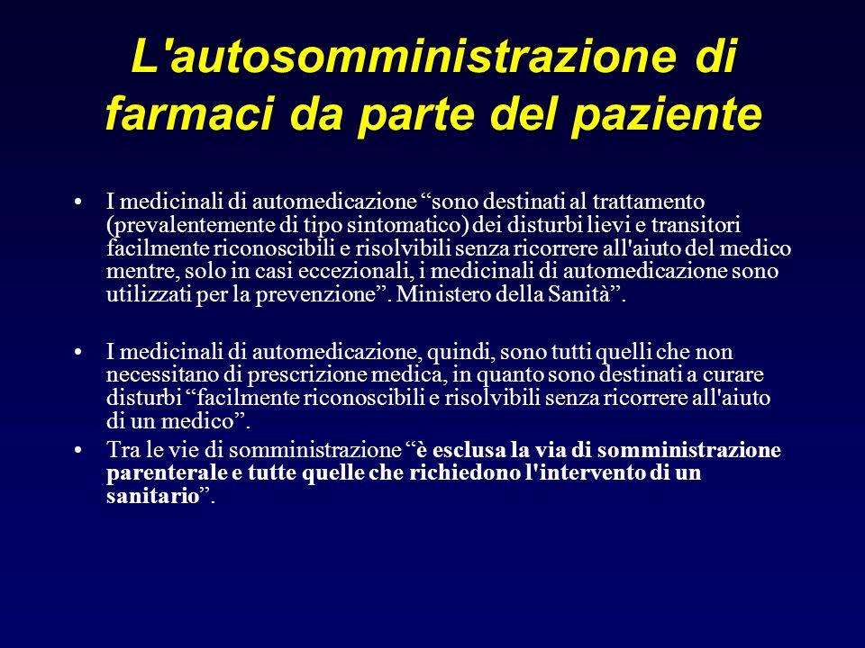 L'autosomministrazione di farmaci da parte del paziente I medicinali di automedicazione sono destinati al trattamento (prevalentemente di tipo sintoma