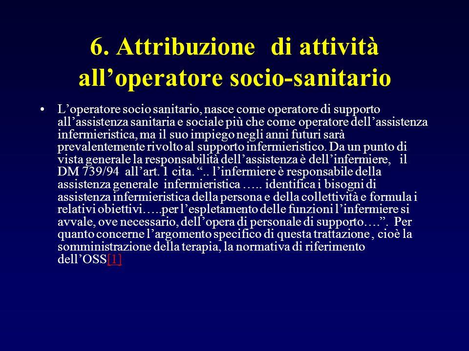 6. Attribuzione di attività alloperatore socio-sanitario Loperatore socio sanitario, nasce come operatore di supporto allassistenza sanitaria e social