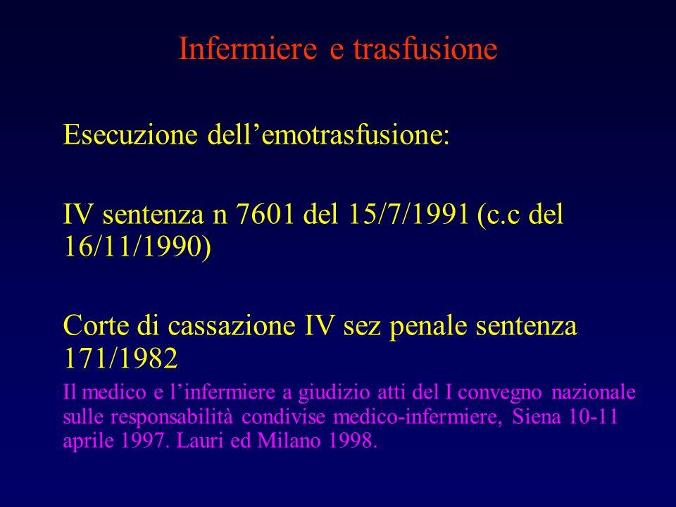 Infermiere e trasfusione Esecuzione dellemotrasfusione: IV sentenza n 7601 del 15/7/1991 (c.c del 16/11/1990) Corte di cassazione IV sez penale senten