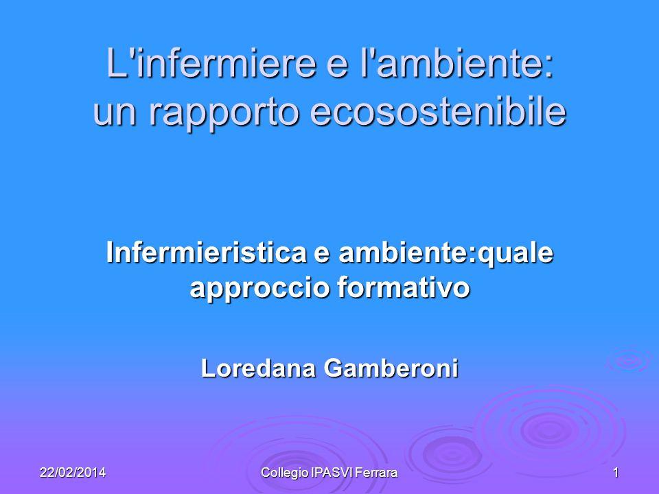 22/02/2014Collegio IPASVI Ferrara1 L'infermiere e l'ambiente: un rapporto ecosostenibile Infermieristica e ambiente:quale approccio formativo Loredana
