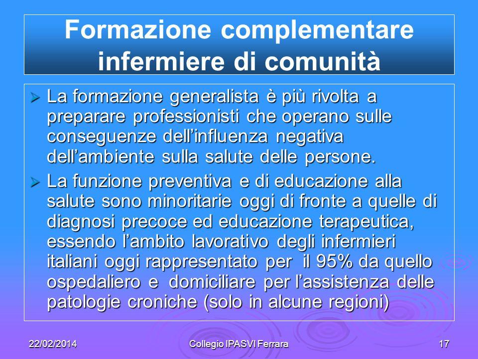 22/02/2014Collegio IPASVI Ferrara17 La formazione generalista è più rivolta a preparare professionisti che operano sulle conseguenze dellinfluenza neg