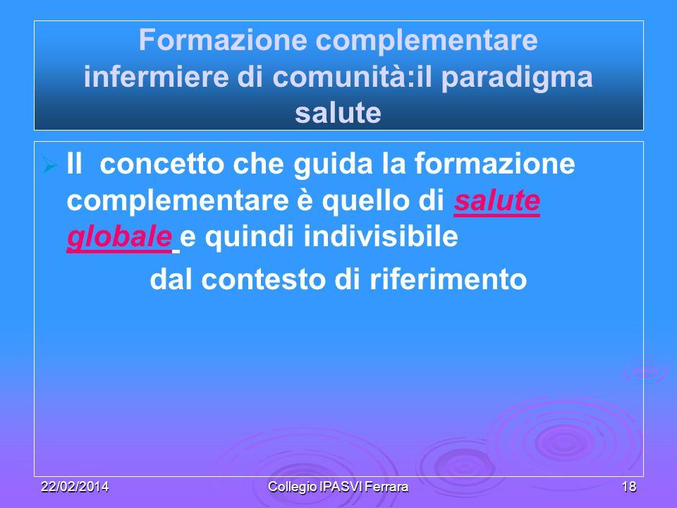 22/02/2014Collegio IPASVI Ferrara18 Formazione complementare infermiere di comunità:il paradigma salute Il concetto che guida la formazione complement